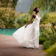 bride, dress, swimming pool - Lothian Vineyards
