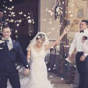 bride and groom, bride and groom, confetti - Green Leaves