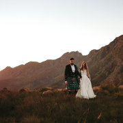 bride and groom, bride and groom, kilt, mountain view - STAGHORN Scottish Outfitting & Kilt Hire