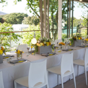 decor, grey, table setting, venue, white, yellow - Kelvin Grove Club
