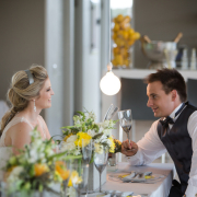 decor, lighting, table setting, white, yellow - Kelvin Grove Club