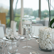 crystal, decor, grey, table setting, white - Kelvin Grove Club