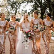 bridal bouquet, bride and bridesmaids, bridesmaids dresses, bridesmaids dresses - Makeup by Lauren