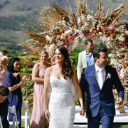 bride and groom, bride and groom, floral arches, outdoor ceremony - Makeup by Lauren