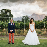 bride and groom, bride and groom, suits, wedding dresses, hanging bulbs - Vrede en Lust