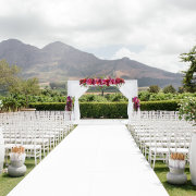 flower arch, outdoor ceremony