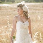 bouquet, bracelet, earrings, hair styles, headpiece, wedding dress - Ilse Roux Bridal Wear