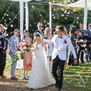 bride and groom, bride and groom, confetti - Highberry Boutique Winery