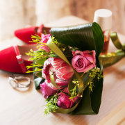 bouquet, wedding shoes