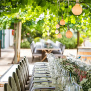 hanging greenery, naked bulbs, outdoor reception - Au d' Hex Estate - Venue | Boutique Manor House | Restaurant