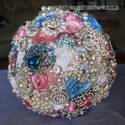 blue, bouquet, brooch, pink