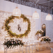 chandeliers, fairy lights, floral decor, wreath - Whispering Thorns