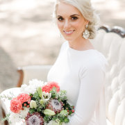 bouquet, earings, hair, makeup - Evelyn Francis