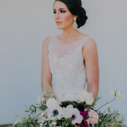 bouquet, earings, hair and makeup