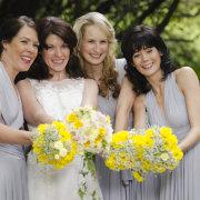 bouquet, bridesmaid dress, bride
