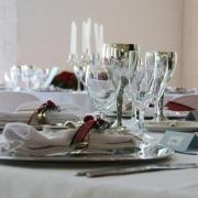 table, glasses, crockery