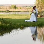 bride and groom, lake