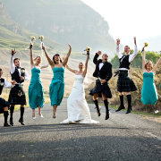 bridal party, mountain, venue, kilt