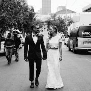 black and white, bride and groom, dress, suit
