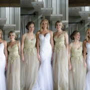 bride, bridesmaids, dress, hair, makeup