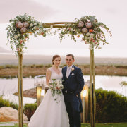 arch, bouquet, bride and groom, flowers, protea