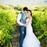 bride and groom, vineyard, winelands