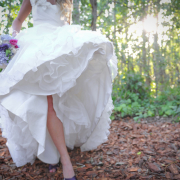 bouquet, blue, wedding dress