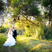 bride and groom, forest, wedding dress