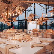 fairy lights, floral centrepieces, hanging decor, naked bulbs - It Comes Naturally