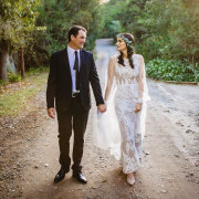 bride and groom, bride and groom, flower crowns, lace, wedding dresses - Belinda Hougaard - Hair Therapy