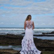beach, lace, wedding dress