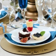 place setting, dessert - Wild Almond Catering