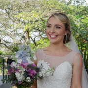 bouquet, bride, dress, hair, makeup