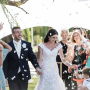 bride and groom, bride and groom, confetti