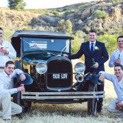 car, groomsmen
