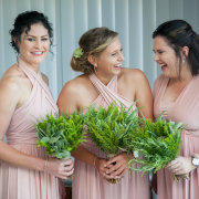 bouquet, bridesmaids dressses, green, pink