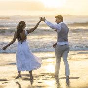 beach, bride and groom, bride and groom