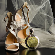 bridal shoes, hair piece, perfume