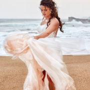 beach wedding, bride, dress