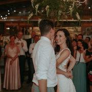 barn, fairy lights, first dance