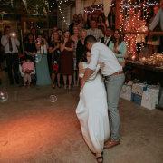barn, bubbles, fairy lights, first dance