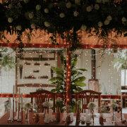 candles, decor, fairy lights, greenery, main table
