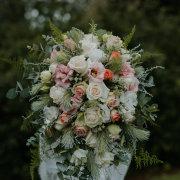 bridal bouquet, flower bouquet, pink roses