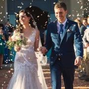 bride, ceremony, confetti, groom, petals