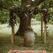 floral wedding arch, outdoor ceremony
