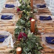 candles, floral centrepiece