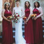bouquets, bride and bridesmaids, bridesmaids dresses, bridesmaids dresses, flower crowns, red