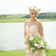 bouquet, headpiece, wedding dress