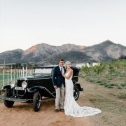 bride and groom, bride and groom, car, mountain view