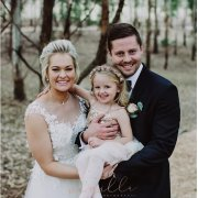 bride and groom, bride and groom, flower girl